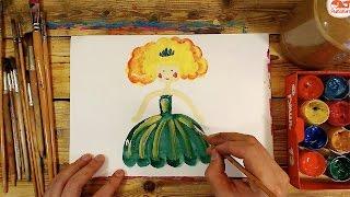 Как нарисовать ДЕВОЧКУ и ПЛАТЬЕ красками / урок рисования для детей