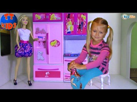 КУХНЯ ДЛЯ КУКЛЫ БАРБИ Распаковка от Ярославы Игрушки для детей Kitchen for Barbie Doll Unboxing