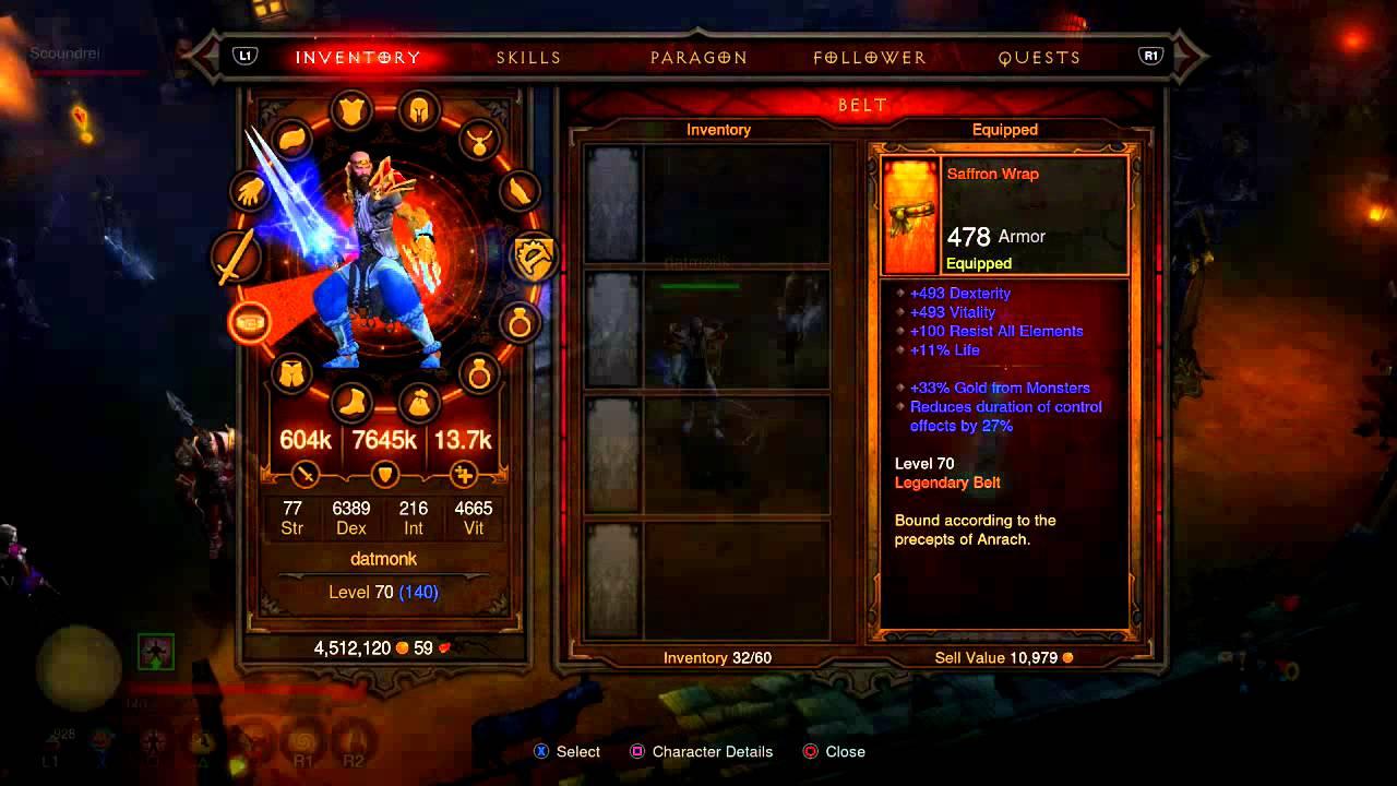 PS4 DatMonk is back Diablo 3 Ultimate Evil Edition Monk Gear/Skills