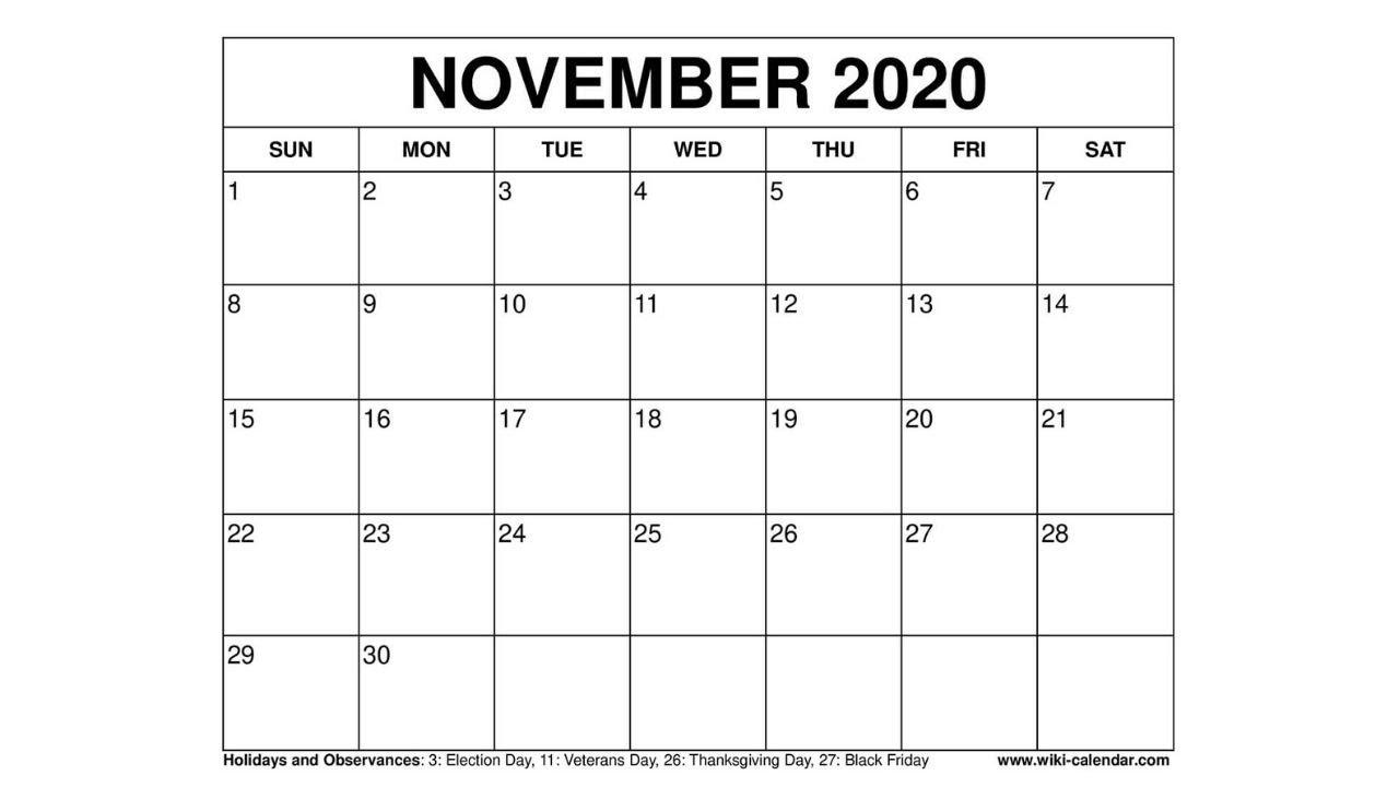 Free Printable November 2020 Calendar - Wiki-Calendar.Com