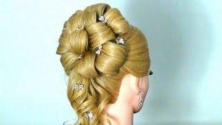 Вечерняя прическа с плетением на длинные волосы видео