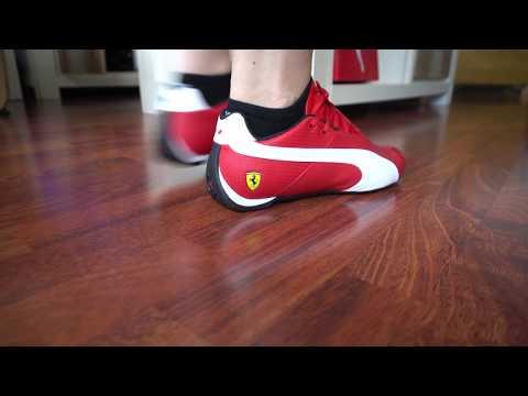 e8354d322c126a Puma Ferrari Future Cat OG red on feet 1