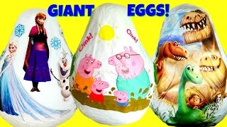 huge egg hunt peppa pig disney s frozen and the good dinosaur giant toy surprise eggs compilation