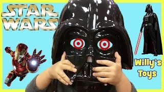 Kid Shopping for Halloween Costumes STAR WARS Darth Vader Iron Man MINIONS Willys Toys