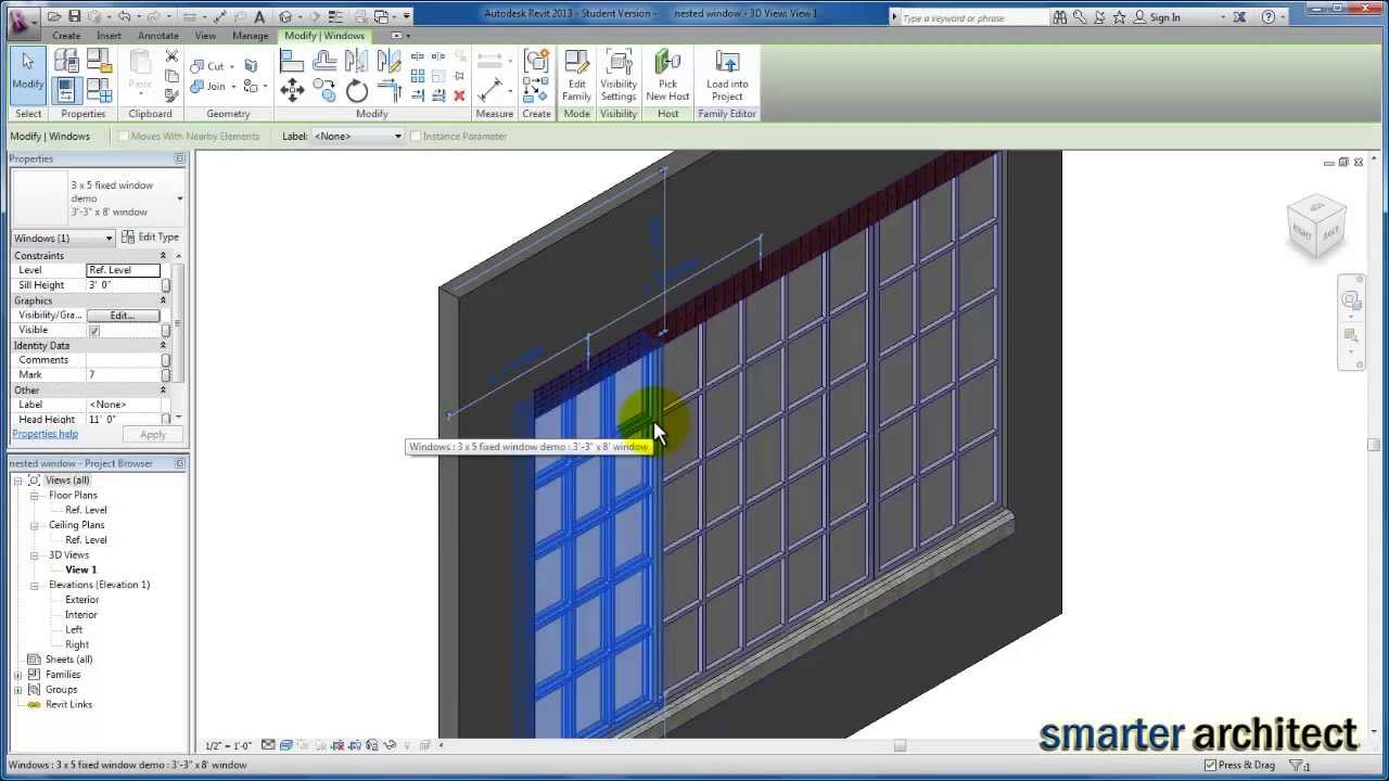 Revit Tutorials: Window Family - Creating A Material Parameter