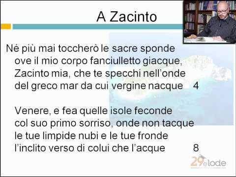 A Zacinto - Ugo Foscolo - Lezioni di Letteratura dell'Ottocento