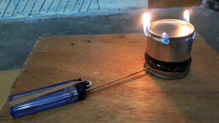 Membuat kompor mini dari kaleng dan korek gas