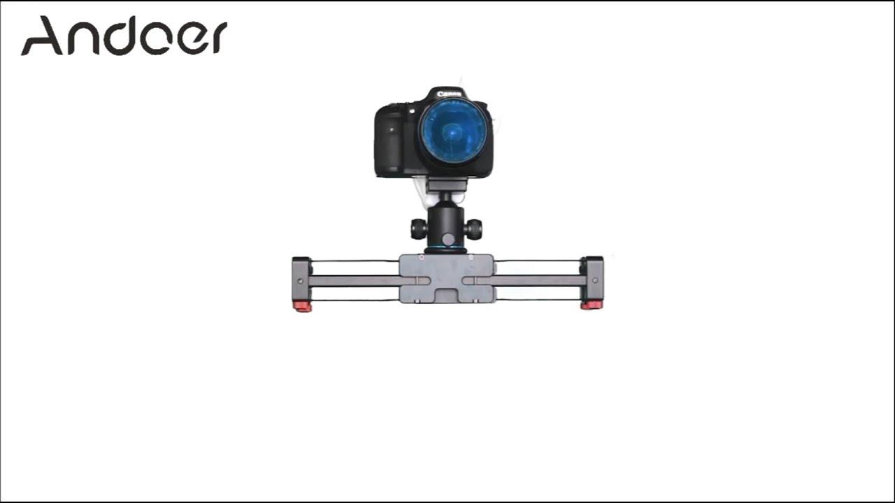 Andoer V2-500 Track Dolly Slider 50cm Rail Shooting Video Stabilizer 86cm  Actual Sliding Distance