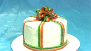 Tie Dyed Rainbow Gift Package Cake With  Candy  Bow and  Ribbon