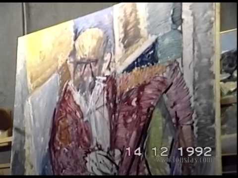 Kostas Loustas is painting Nikos Chourmouziadis