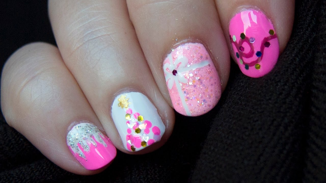 Diseño de uñas Navidad en rosa / Nail art design Pink ...