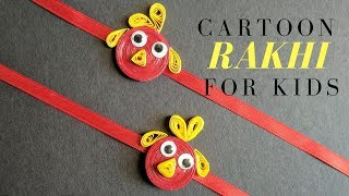 DIY Cartoon Rakhi for Kids / Quilling Cartoon Rakhi with no Tools and Homemade Quilling Strips