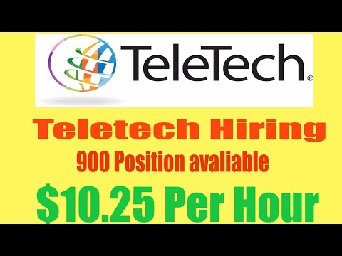 TeleTech now Hiring for 900 Work from Home Jobs $10.25 Hr