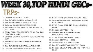 Top hindi tv serials trp ratings | top 20 hindi shows | barc trp