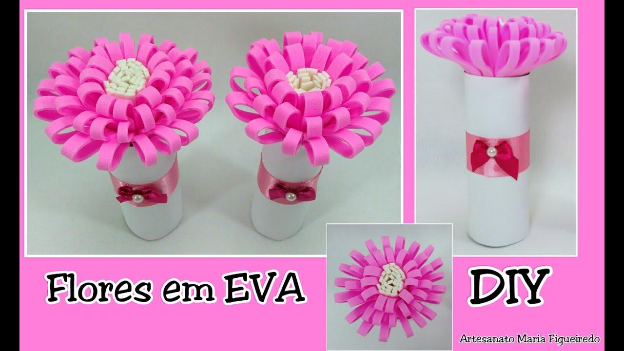 Flor em EVA Fácil Decoraç u00e3o com rolos de papel higi u00eanico