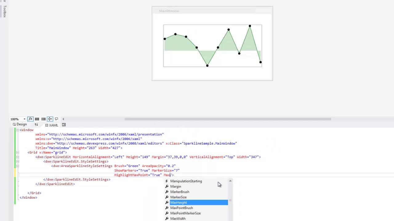 DevExpress WPF: Sparklines