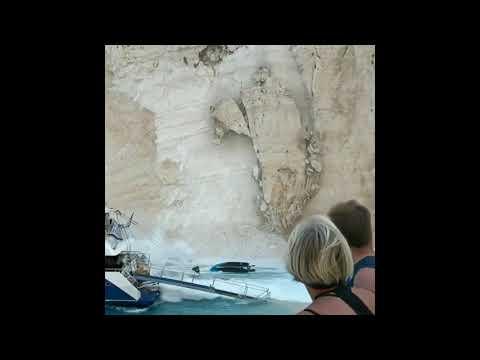 Dangerous Rock Slide Hits Scenic Greek Beach