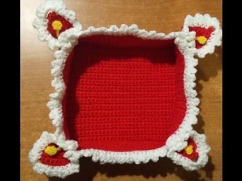 Tutorial cestino portapane all 39 uncinetto crochet basket - Cestini all uncinetto per il bagno ...