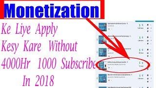 How to apply for YouTube channel Monetization || With Out 4000Hr 1k subscribe| with PC #Tech4shani