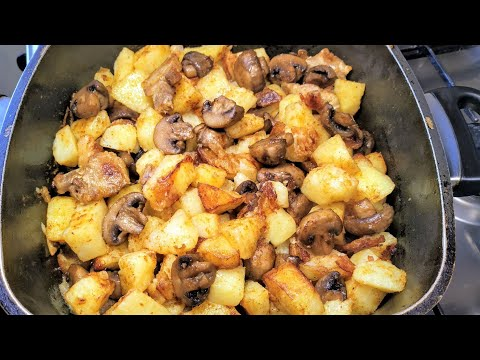 Жаренная Картошка бомба Секреты вкусной жарки! Грибами и беконом