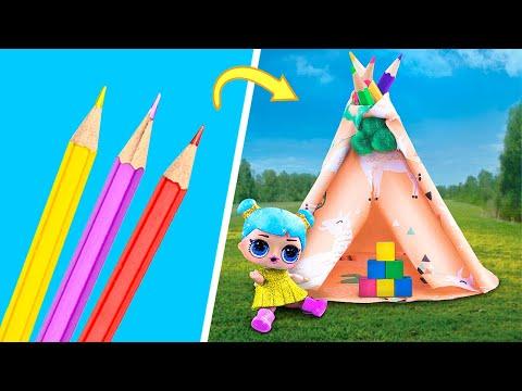 Мебель и аксессуары для Барби и ЛОЛ из канцелярии – 10 идей!