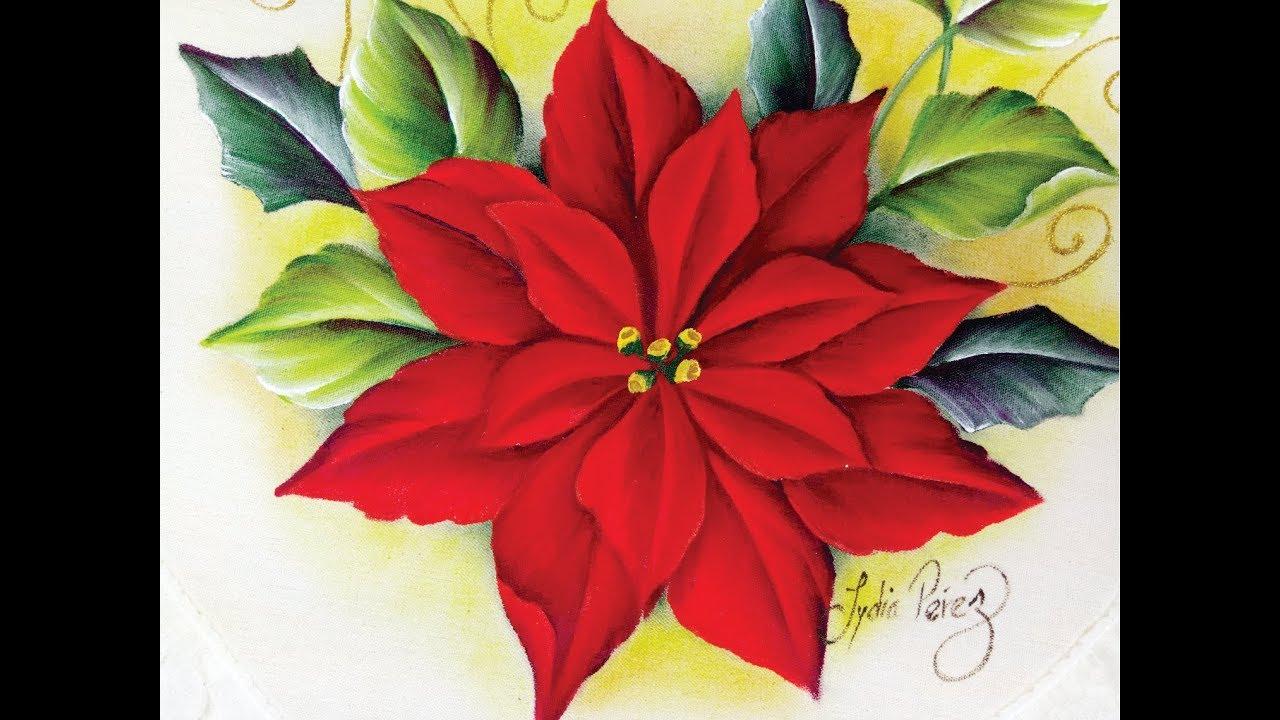 Imagenes De Motivos Navidenos Para Pintar En Tela.Pintura En Tela Navidad Como Pintar Una Nochebuena How To Paint Poinsettias