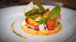 David Bilcot, Le Disini, Tarte sablée au parmesan, légumes de saison et huile d'olive à la truffe