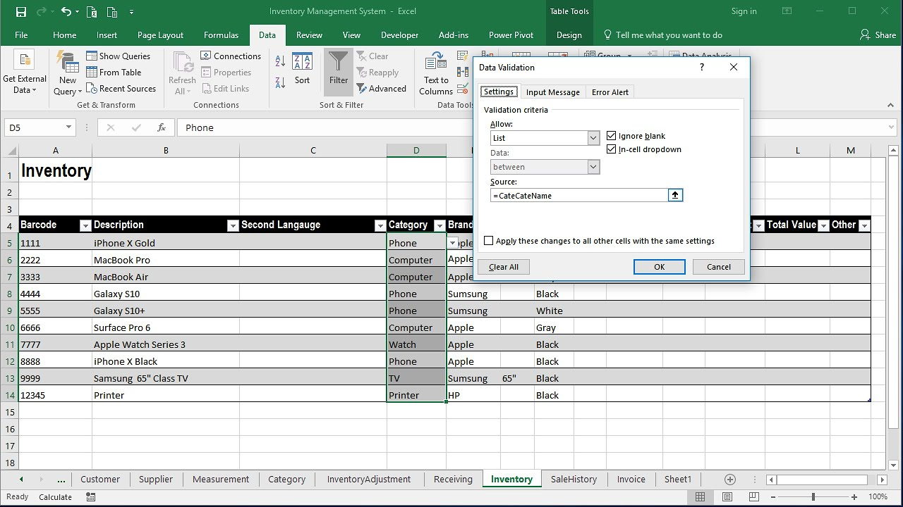 Inventory Management System Part 1 Creating Inventory Sheet With Dropdown List Youtube