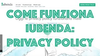Generatore Privacy Policy: Come funziona IUBENDA? Mp3