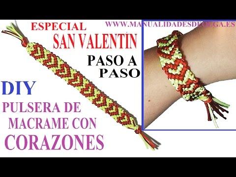 c8393633c163 6 ideas DIY  pulseras de hilo con corazones