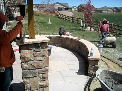 Installing Stone Columns & Stone Seating Wall - YouTube