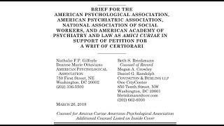 Revisiting The SCOTUS Amicus Briefs: Association of Pscychologist and Phsyciartrist