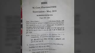 Mcom previous DDE exam may 2019              BUSINESS STATISTICS