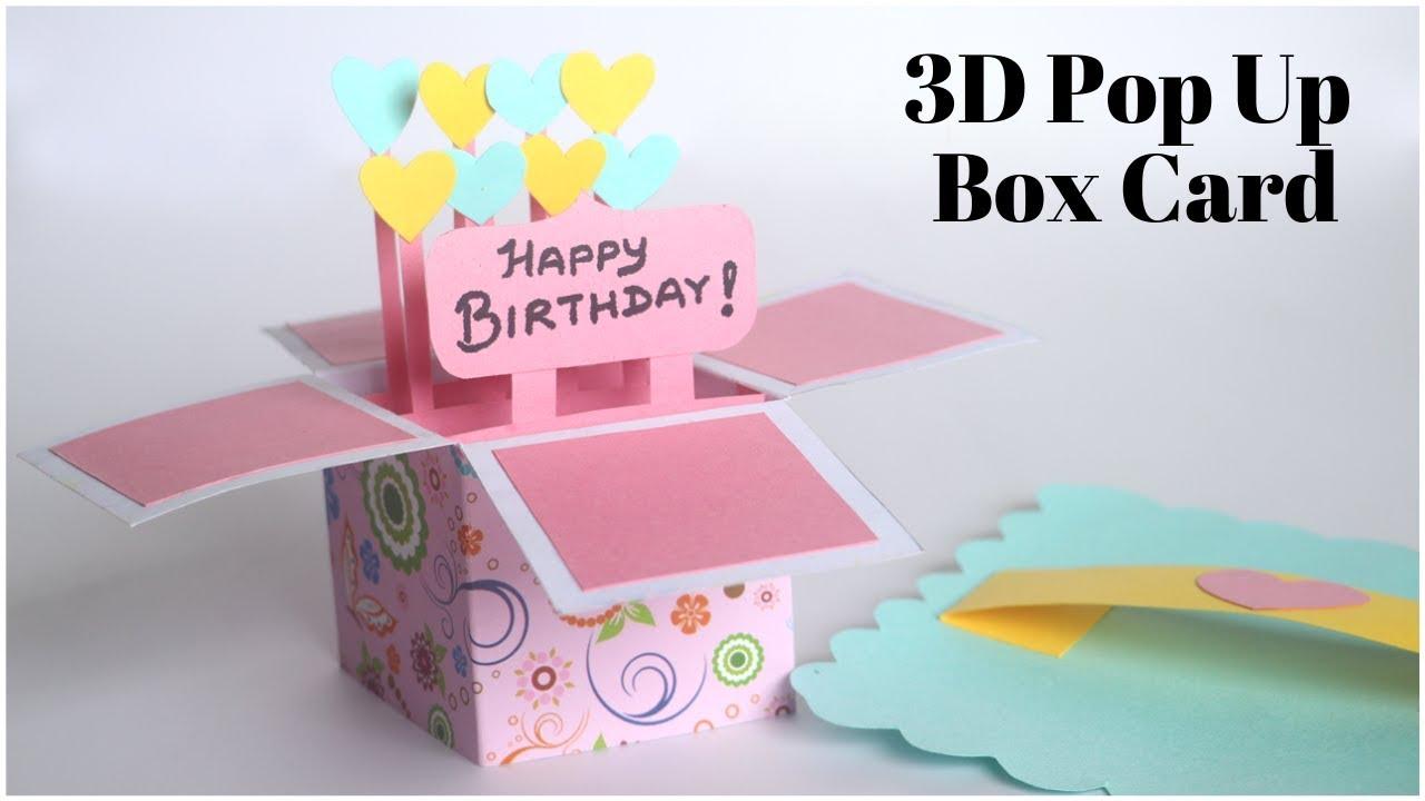 3d Pop Up Card Birthday Card Diy Explosion Box For Scrapbook Handmade Greetings Card Youtu Happy Birthday Cards Diy Birthday Cards Diy Diy Pop Up Cards