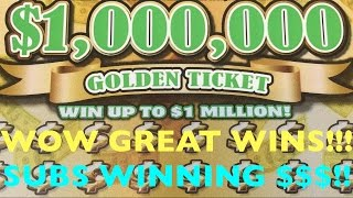 WOW MY SUBS WON SO MUCH MONEY ON GOLDEN TICKET SCRATCHERS!!! - 5k Sub Giveaway Winners Scratchers