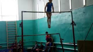 спортивная гимнастика,разновысокие брусья Маша 7 лет