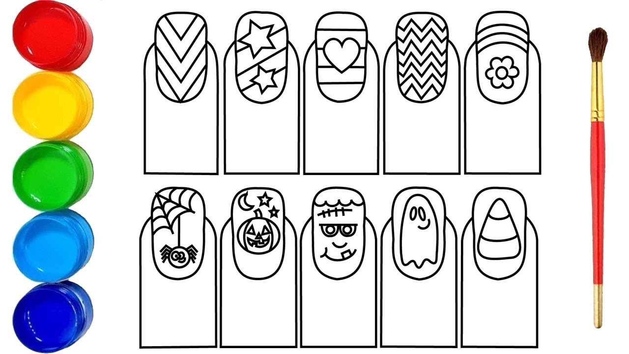 Glitter Nail Art Drawing And Coloring Pages Youtube