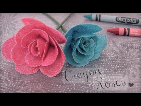 DIY CRAYON ROSES : Fabric Flower How To | SoCraftastic