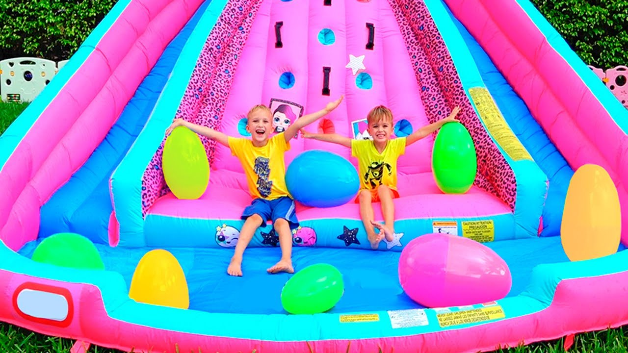 Download Huge Eggs Surprise Toys Challenge with Inflatable slide for Vlad and Nikita
