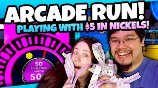Winning Tickets with Nickels? Arcade Fun at Nickelrama Arcade! $5 Arcade Challenge! TeamCC