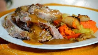 Roast Pork Loin With Gravy And Vegetables