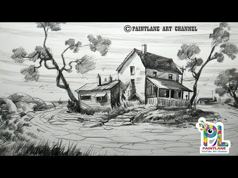 Scenery Drawing With Old Wooden Houses On Uplands With Pencil