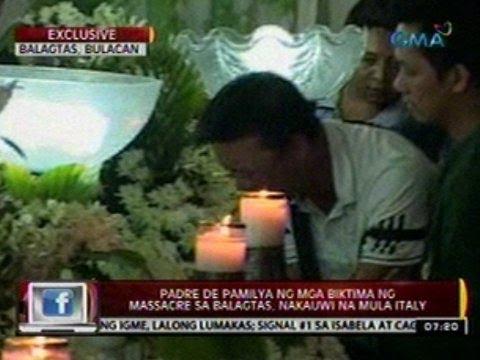 24 Oras: Padre de pamilya ng mga   biktima ng massacre sa Balagtas,   nakauwi na mula sa Italy