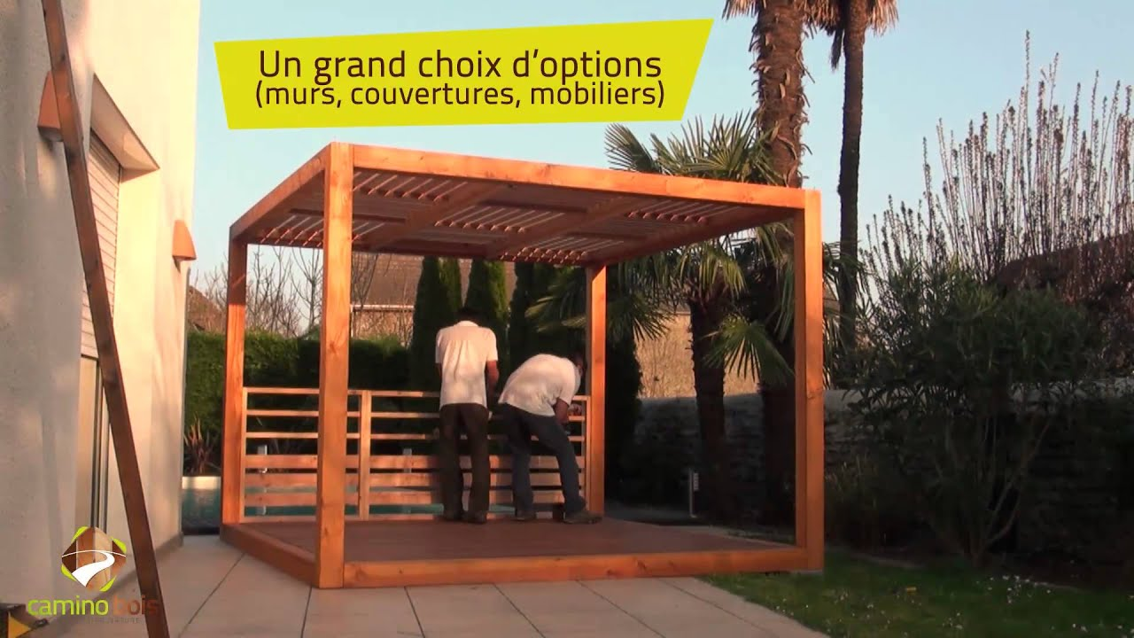 Terrasse pergola en kit pau camino bois propose le for Photos terrasse en bois