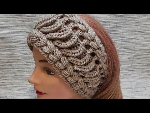 Теплая повязка на голову вязаная крючком
