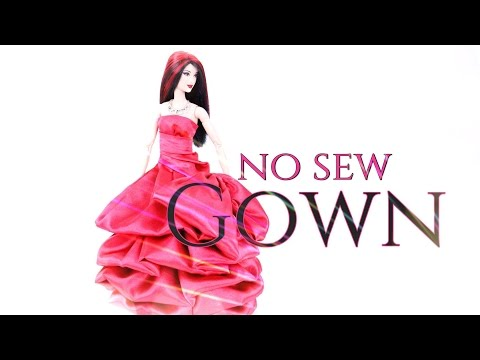 DIY - How to Make: Doll No Sew Gown - Handmade - Crafts - PROM DRESS - 4K