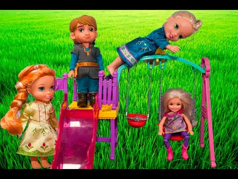 Elsa and Anna toddlers at the park with Chelsea- ice skating and visit to the doctor-Barbie episodes