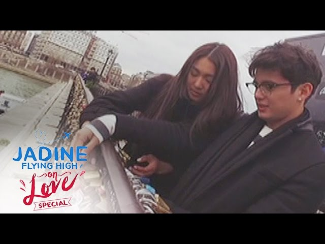 JaDine Flying High on Love: Love lock in Pont des Arts bridge