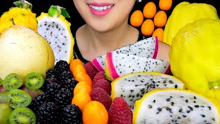 FRUIT ASMR:YELLOW DRAGON FRUIT, KÏWI BERRIES, PEAR   ASMR EATING SOUNDS   TracyN ASMR