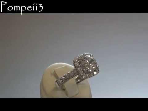Pompeii3 325CT Cushion Halo Round Diamond HUGE Engagement Ring 14K White Gold